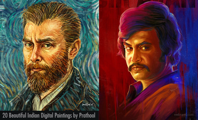 20 Beautiful Indian Digital Paintings of Popular Tamil Actors by Prathool