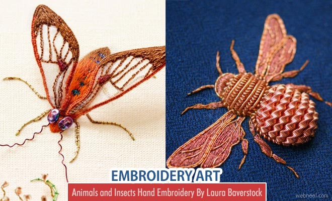 Animals and Insects - Stunning Embroidery Artworks By Laura Baverstock
