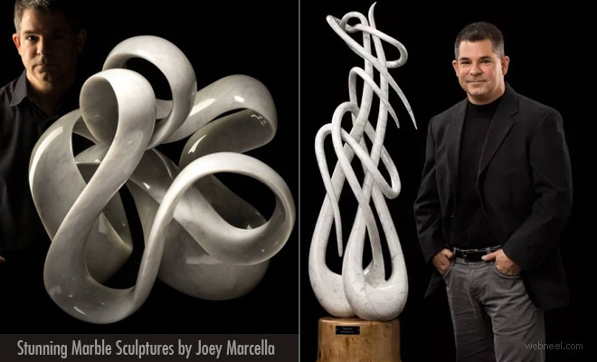 Meddling Ribbons Redefined by Joey Marcella Marble Sculptures
