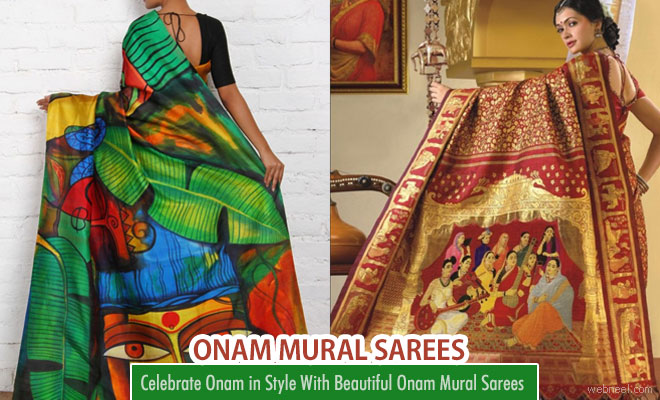 20 Beautiful Kerala Onam Saree Designs with beautiful Mural art works