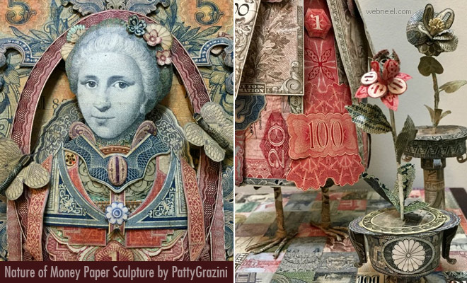Nature of Money Paper Sculpture and artworks by Patty Grazini