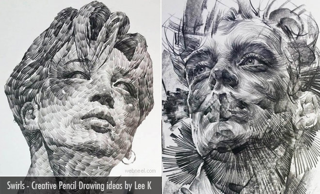 Swirls and Dashes on a Face Artististic Pencil Drawings by Lee K