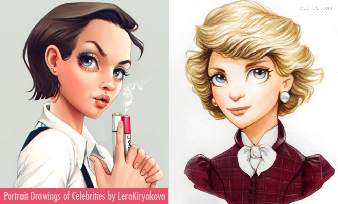 15 Cute Adorable Portrait Drawings of Celebrities by Lera Kiryakova