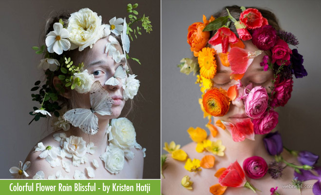 10 Colorful Flower Rain Blissful - Portrait Photography by Kristen Hatji