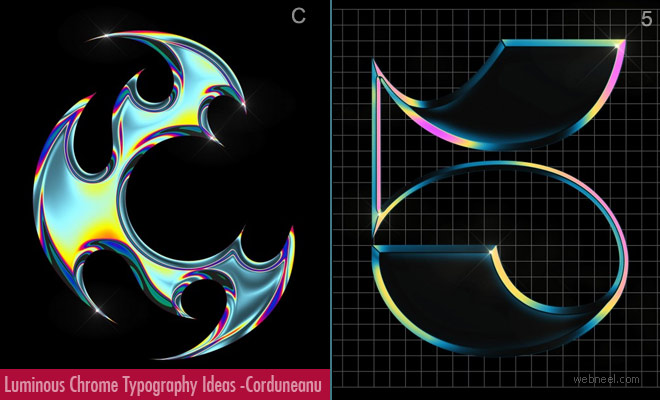Luminous Chrome Typography art ideas and Designs by Antonia Corduneanu1