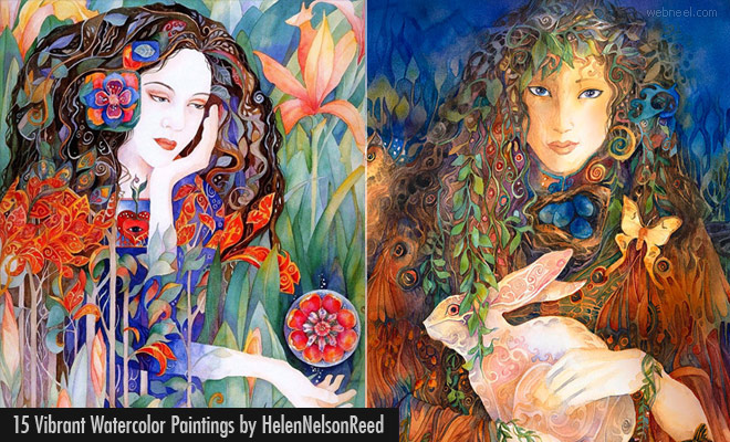 15 Vibrant Surreal Woman Watercolor Paintings by Helen Nelson Reed1