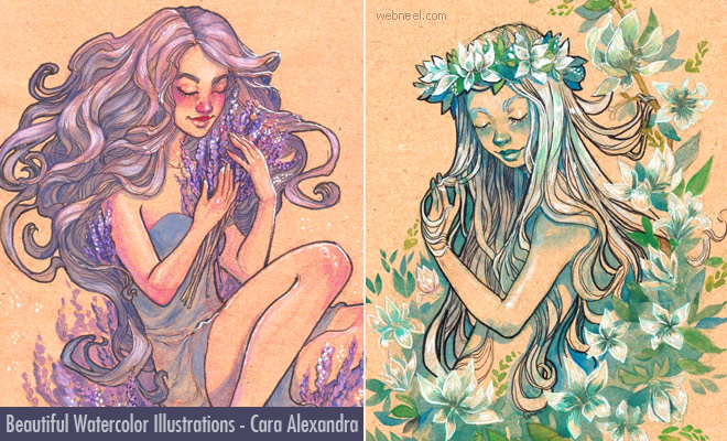 My Muses of Beauty - 10 Beautiful Watercolor Illustrations by Cara Alexandra