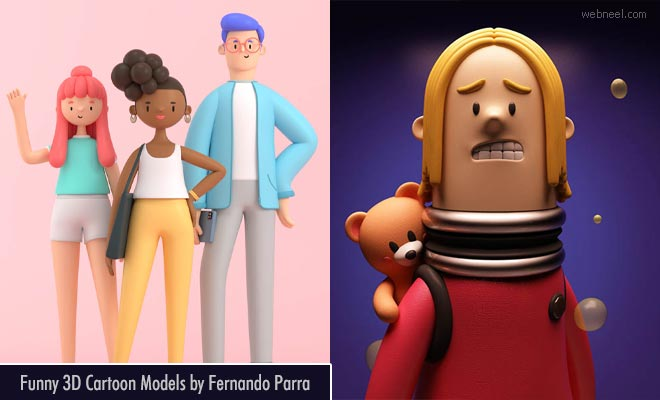 26 Funny 3D Cartoon character design models by Fernando Parra