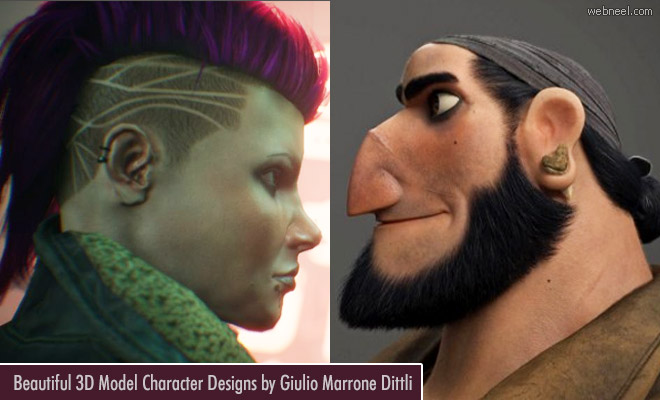 Beautiful 3D Models and Character Designs by Giulio Marrone Dittli