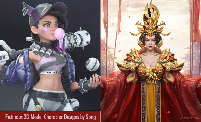 15 Beautiful 3D Model Character Designs by Song - Mythical Beauties
