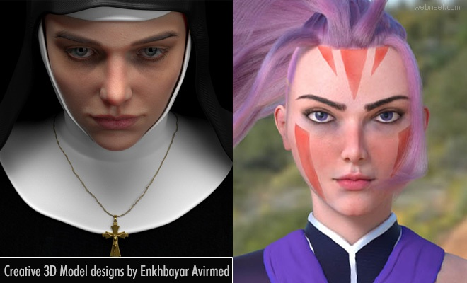 15 Creative 3D Model Character designs by Enkhbayar Avirmed