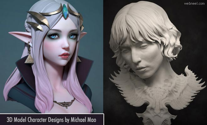 Entranced Dragons on the run - 3D Model Character Designs by Michael Mao