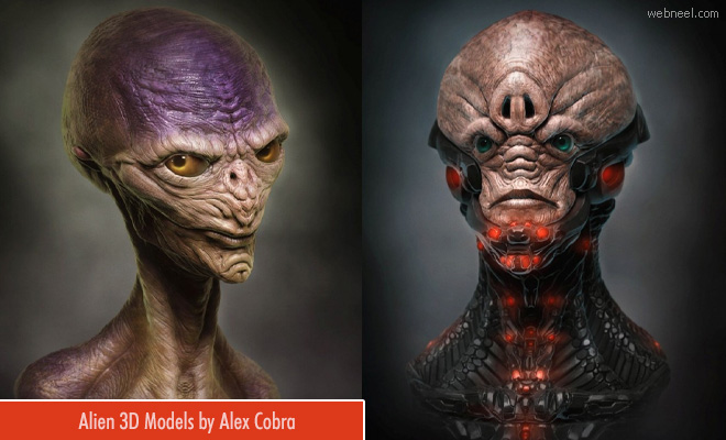 15 Sci-Fi 3D Alien Model Character Designs by Alex Cobra