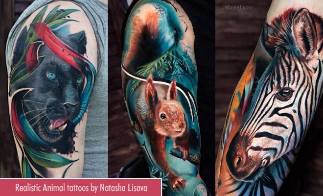 Photo Realistic Colorful Animal Tattoos by Natasha Lisova1