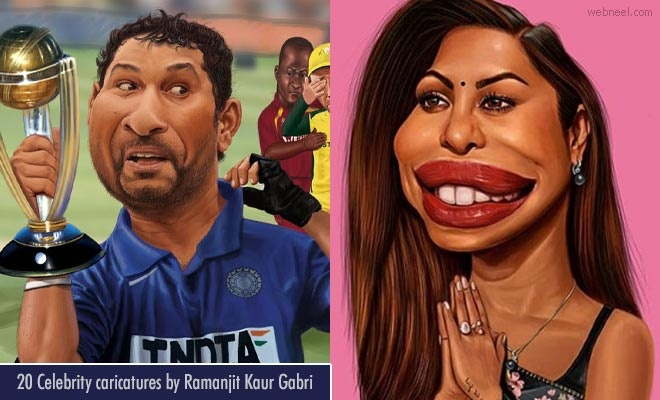 20 Absolutely Funny Celebrity Caricatures by Ramanjit Kaur Gabri