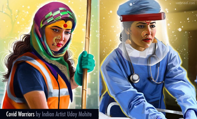 14 Colorful Digital illustrations of Covid Warriors by Indian Artist Uday Mohite