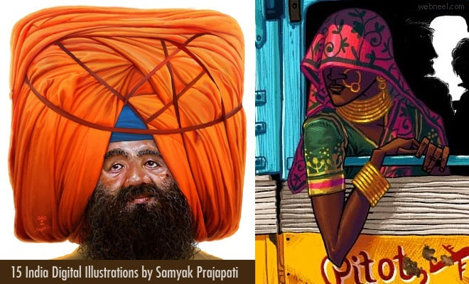 15 Indian Digital Illustration works by Samyak Prajapati