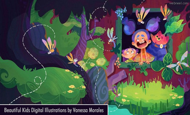 10 Colorful Children stories Digital illustrations by Vanessa Morales