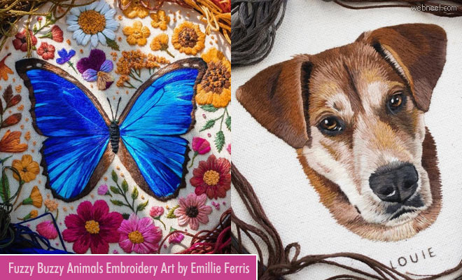 20 Magical Embroidery Art works by Emillie Ferris - Spring into the wild
