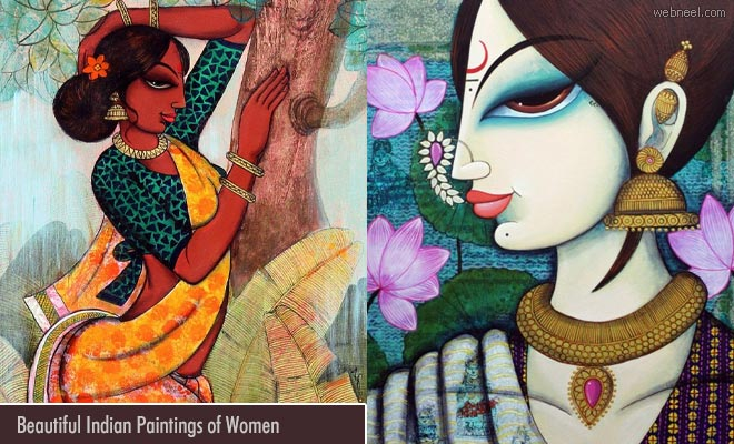 15 Beautiful Indian Woman Paintings by Varsha Kharatmal
