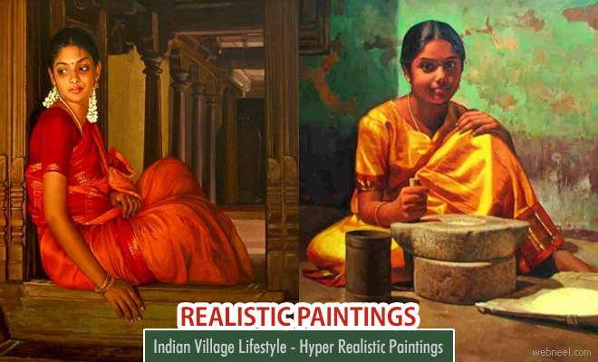 Indian Village Lifestyle - Hyper Realistic Acrylic Paintings by Tamil Nadu Artist Ilayaraja