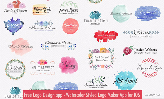 Free Logo Design app - Watercolor Styled Logo Maker App for IOS