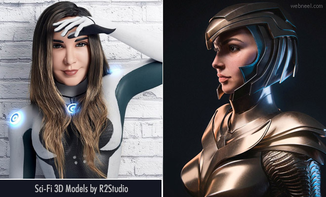Beautiful Sci-Fi 3D Models and Character designs by R2Studio