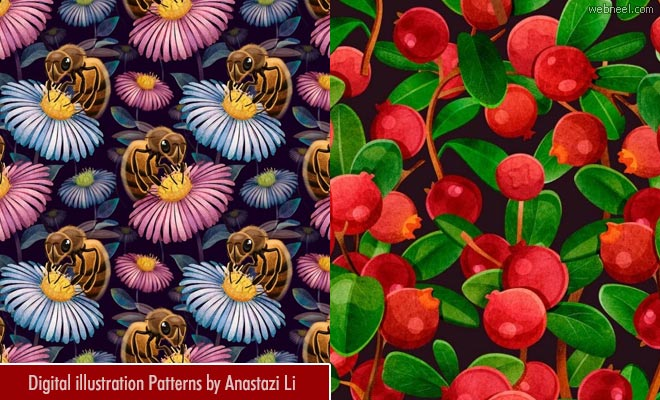 Colorful Digital illustration Art Patterns inspired by flora and fauna by Anastazi Li