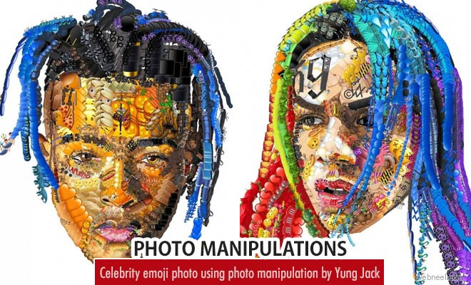Celebrity Photo mashups using Emoji photo manipulation by Yung Jack