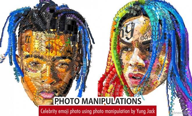 Celebrity Photo mashups using Emoji photo manipulation by Yung Jack