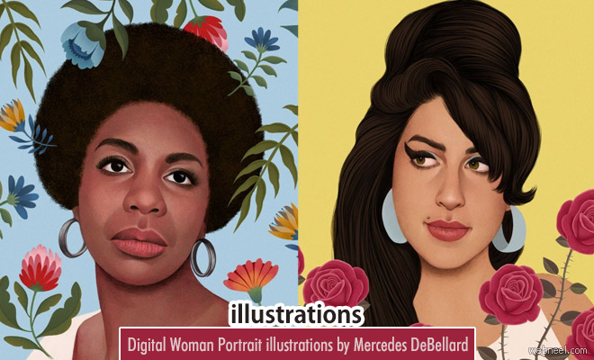 Emotions Run High - Digital Woman Portrait illustrations by Mercedes DeBellard