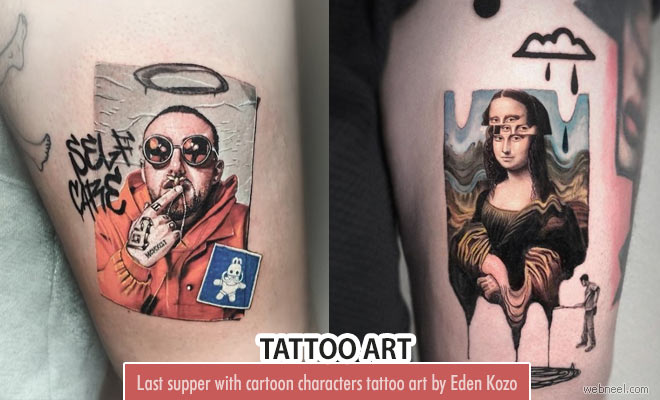 Color Tattoo Art ideas with Funny Cartoon characters by Eden Kozo