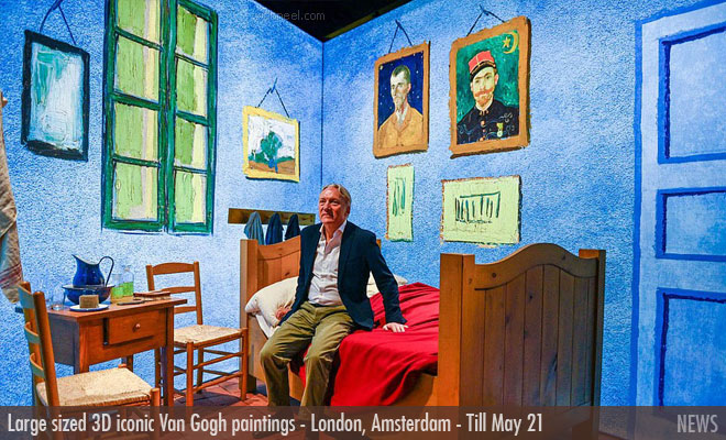 Large sized iconic Van Gogh paintings with 3D features exhibited at London's South Bank