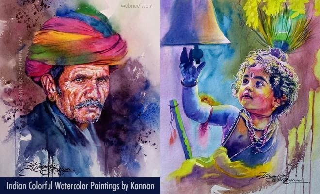 20 Colorful Indian Watercolor Paintings by Kerala Artist Kannan Chithralaya