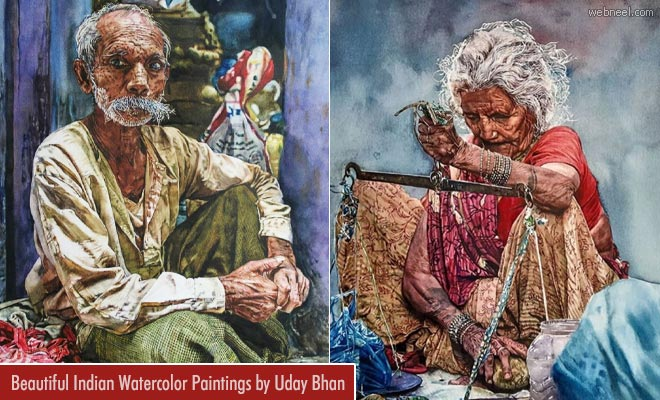 Beautiful Indian watercolor paintings by Uday Bhan1
