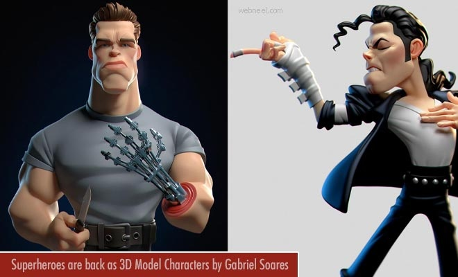 15 Superheros are back to rule as Funny 3D Models created by Gabriel Soares