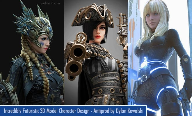 15 Incredibly Futuristic 3D Model Character Designs - Antiprod by Dylan Kowalski