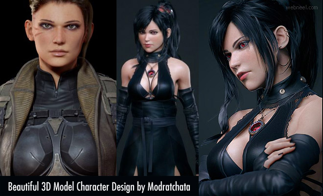 15 Beautiful 3D Game Model Character Designs by Modratchata
