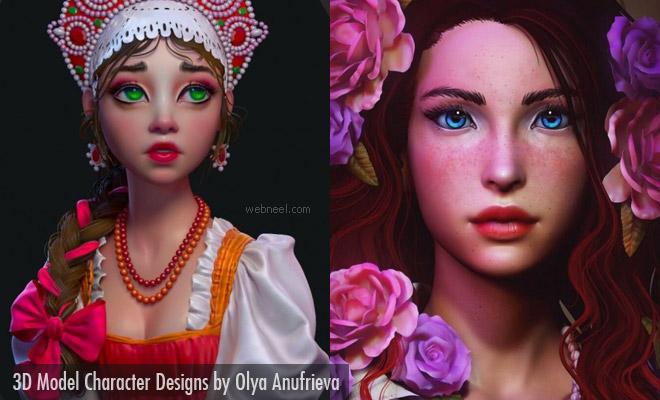 15 Stunning 3D Model Character Designs by Russian Artist Olya Anufrieva