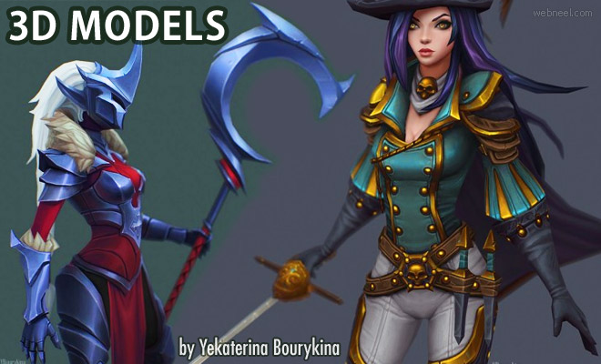 20 Beautiful 3D Model Character Designs by Yekaterina Bourykina