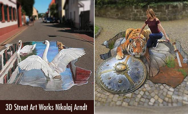 Hyper Realistic 3D Street Art woks by Nikolaj Arndt