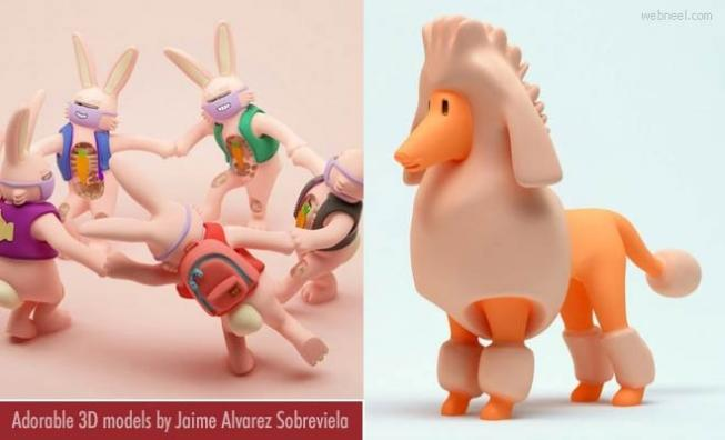 10 Cute and adorable 3d model characters by Jaime Alvarez Sobreviela