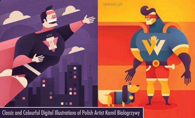 Classic and Colourful Digital Illustrations of Polish Artist Kamil Bialogrzywy