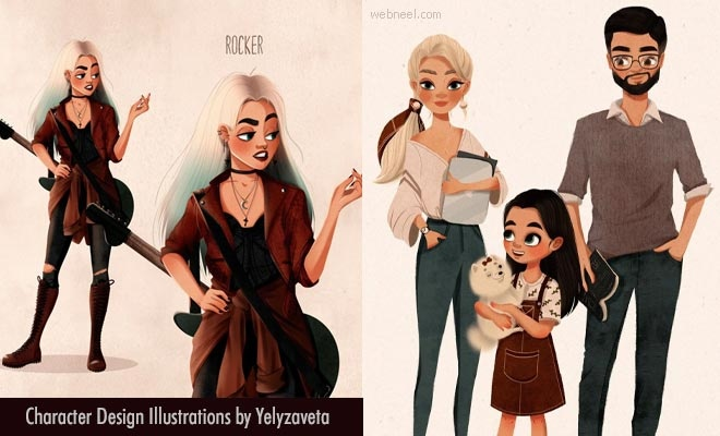 10 Simple Digital Character Design illustrations by Ukranian Artist Yelyzaveta