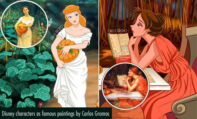 15 Disney Character illustrations of Old and Famous Paintings by Carlos Gromos