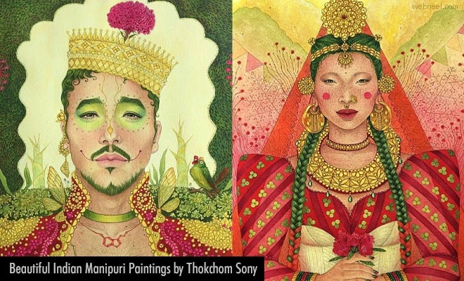 15 Beautiful and Traditional Indian Manipuri Paintings by Thokchom Sony