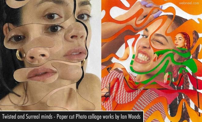 Twisted and Surreal minds - Paper cut Photo collage works by Ian Woods