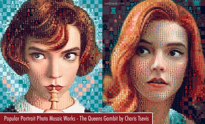 Popular Portrait Photo Mosaic Works - The Queens Gambit by Charis Tsevis