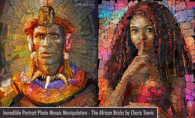 15 Incredible Portrait Photo Mosaic manipulations - The African Bricks by Charis Tsevis