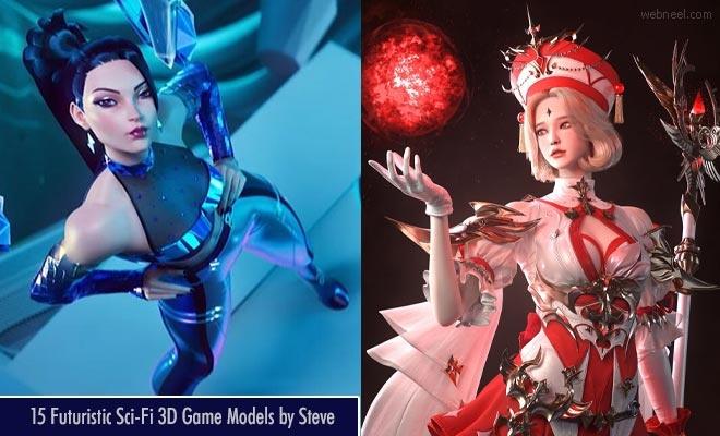 New avatars of KDA League of Legends - Futuristic Sci-Fi 3D Game Models by Steve